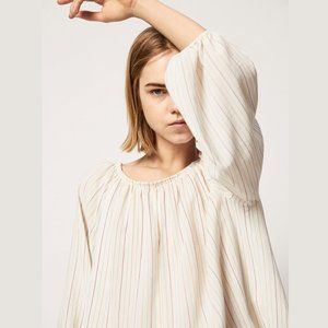 MASSIMO DUTTI Striped Blouse with Pleats